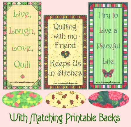Free Printable Quilty Bookmarks From Victoriana Quilt Designs