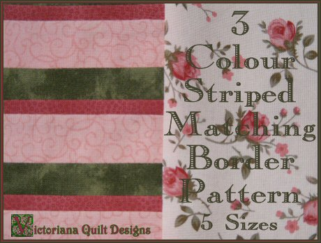 3 Colour Striped Matching Border Free Quilt Pattern