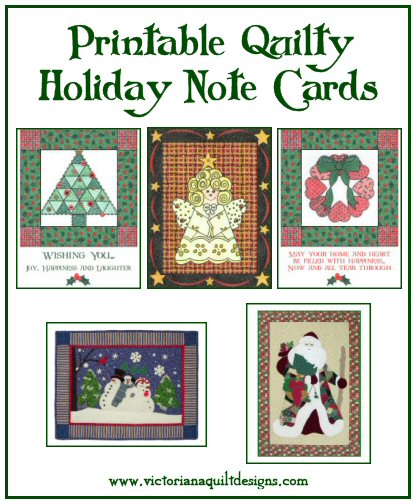Printable Quilty Holiday Note Cards
