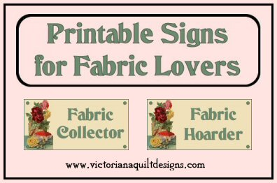 Free Printable Signs for Fabric Lovers