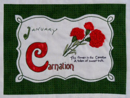 Celebrating Flowers Block of the Month - January Carnations