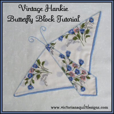 Vintage Hankie Butterfly Block Quilt Pattern Tutorial From